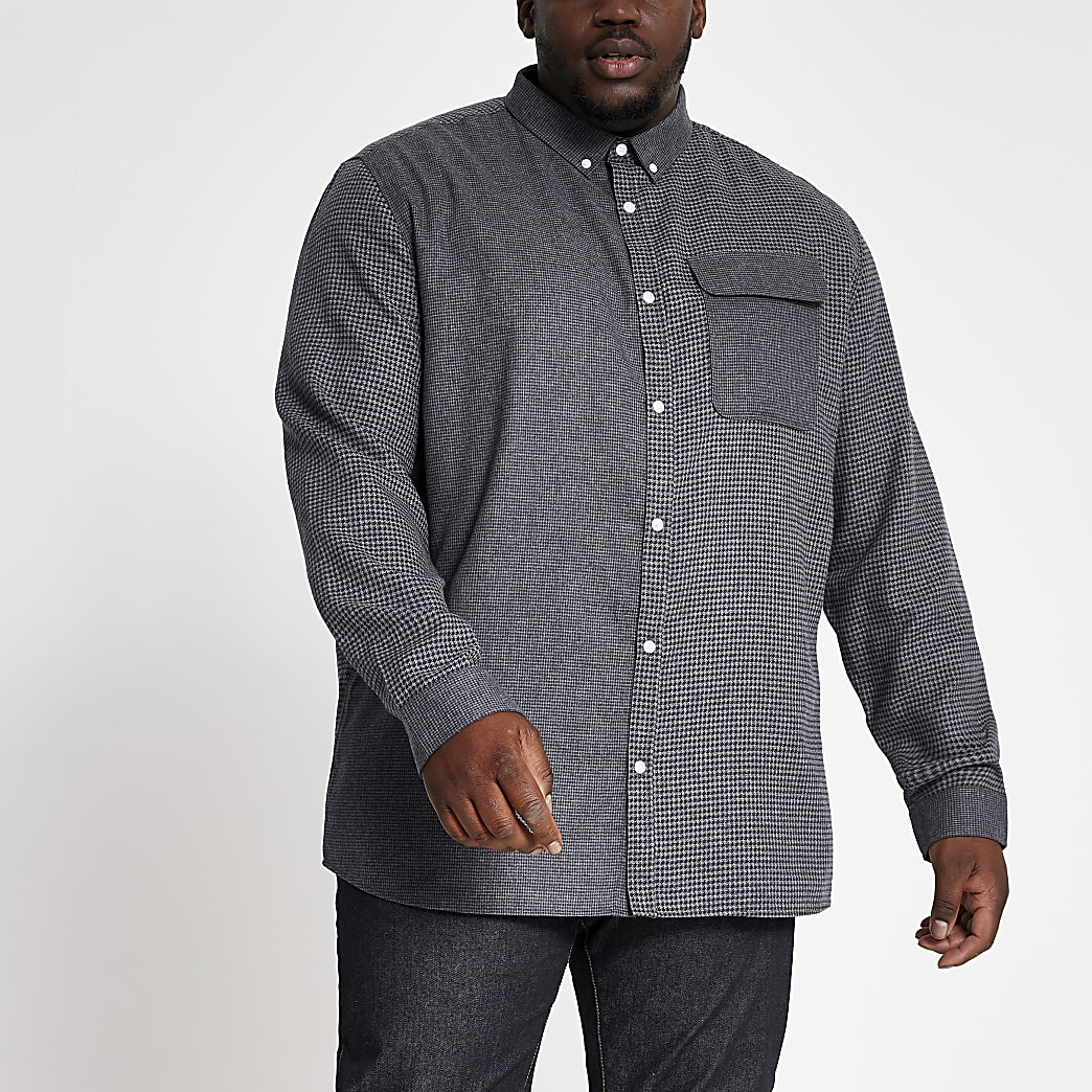 Big and Tall grey blocked check shirt