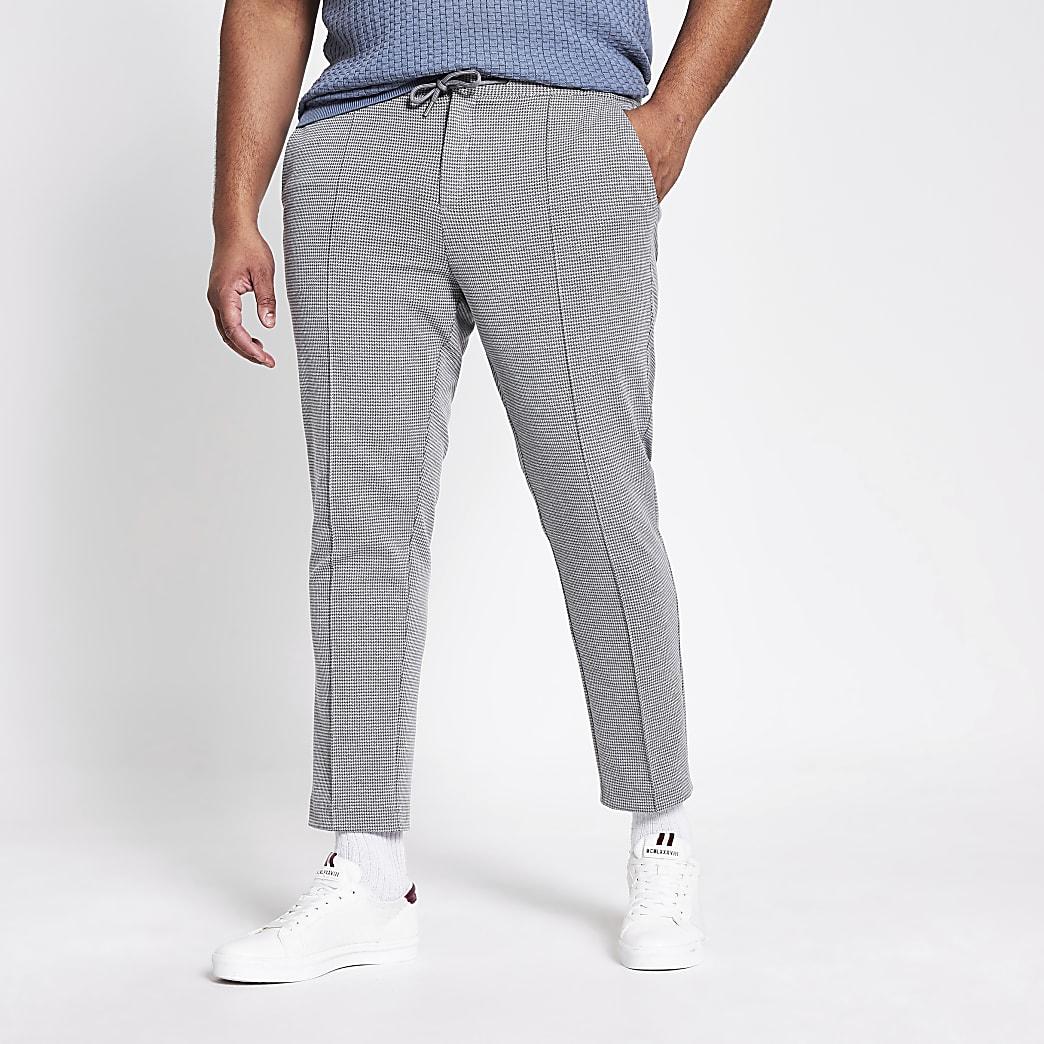 Big and Tall– Graue Skinny Fit Jogginghose mit Karomuster