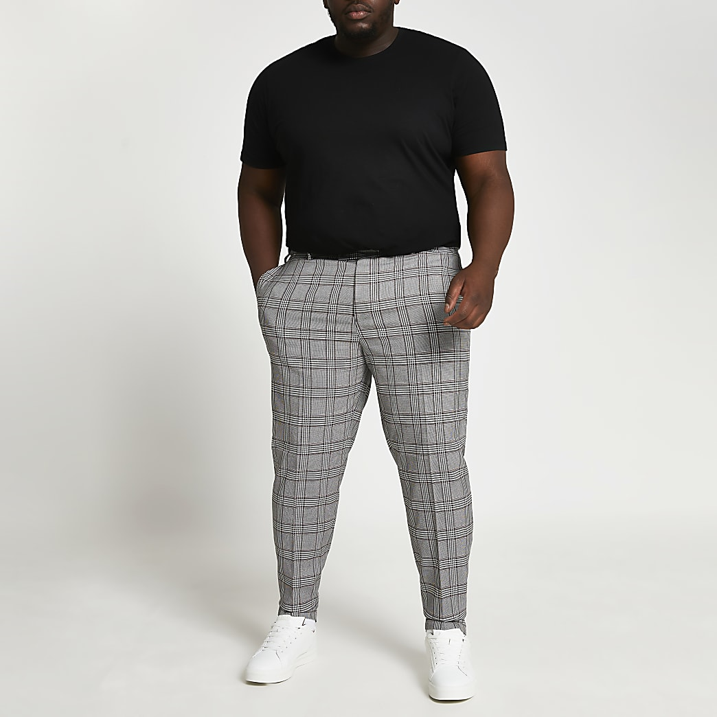 Big & Tall grey check skinny fit trousers