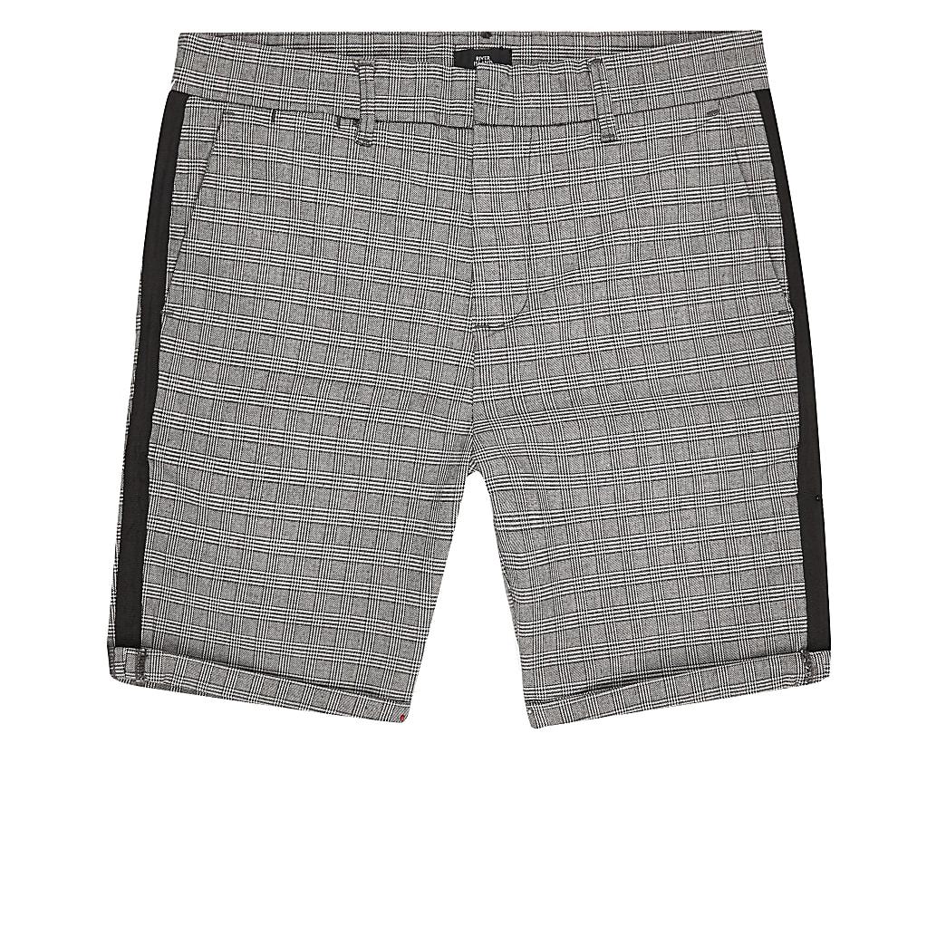 Big & Tall – Graue, karierte Skinny Shorts