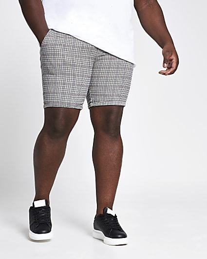 Big and Tall grey check skinny shorts