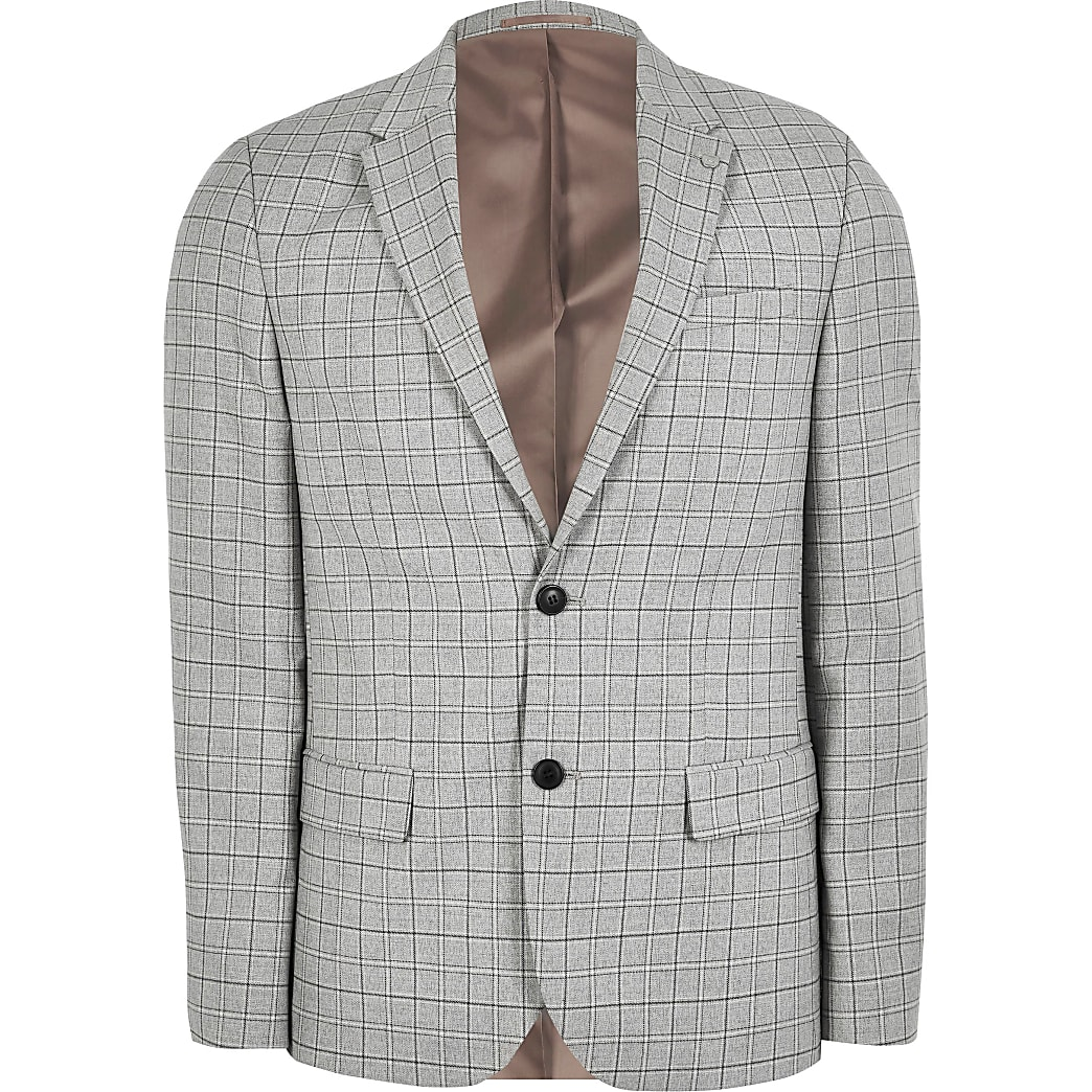 Big and Tall grey check slim fit suit jacket