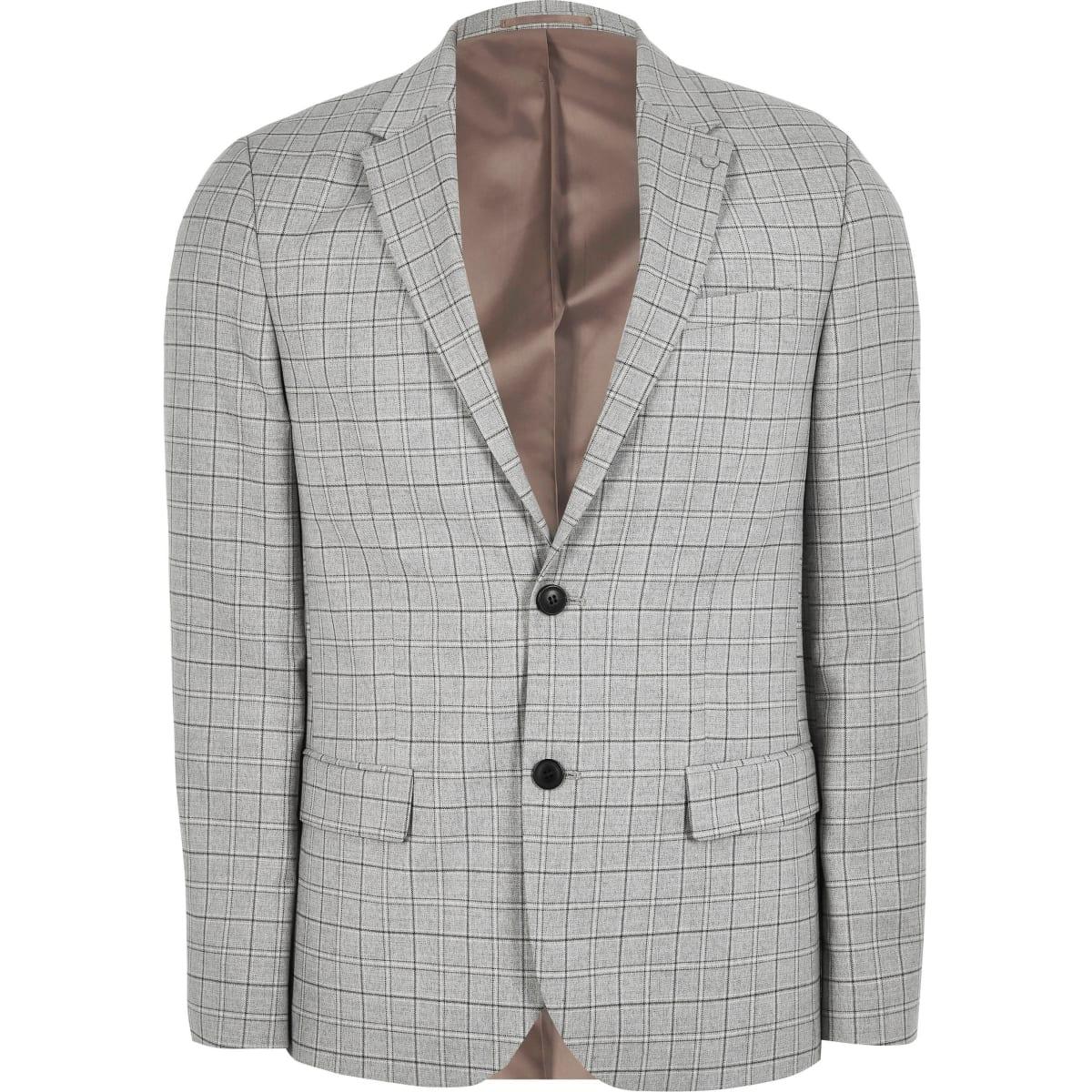 Big and Tall – Veste de costume slim à carreaux grise