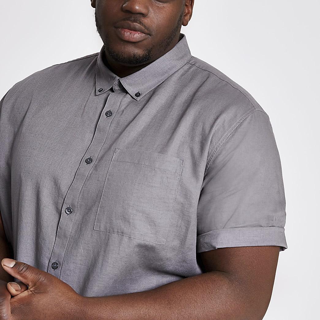 Big & Tall – Graues Kurzarmhemd aus Leinen
