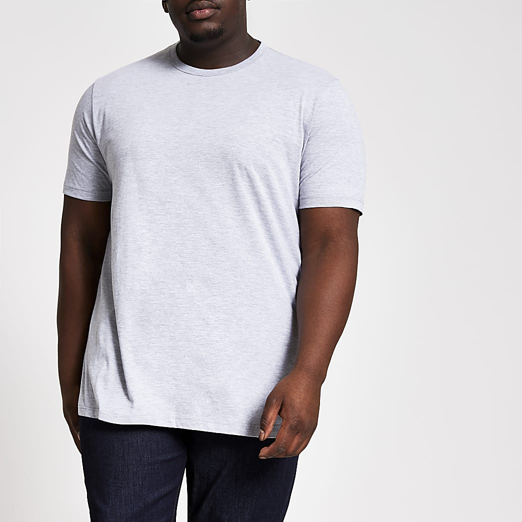 Big & Tall – Grau meliertes Slim Fit T-Shirt