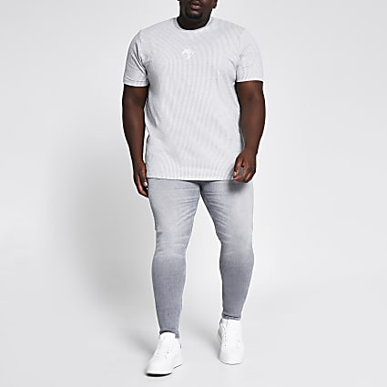 Big and Tall grey Ollie spray on skinny jeans