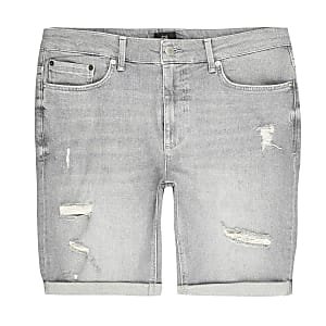 Big and Tall – Short skinny déchiré gris