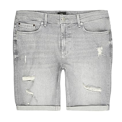 Big and Tall grey ripped skinny fit shorts