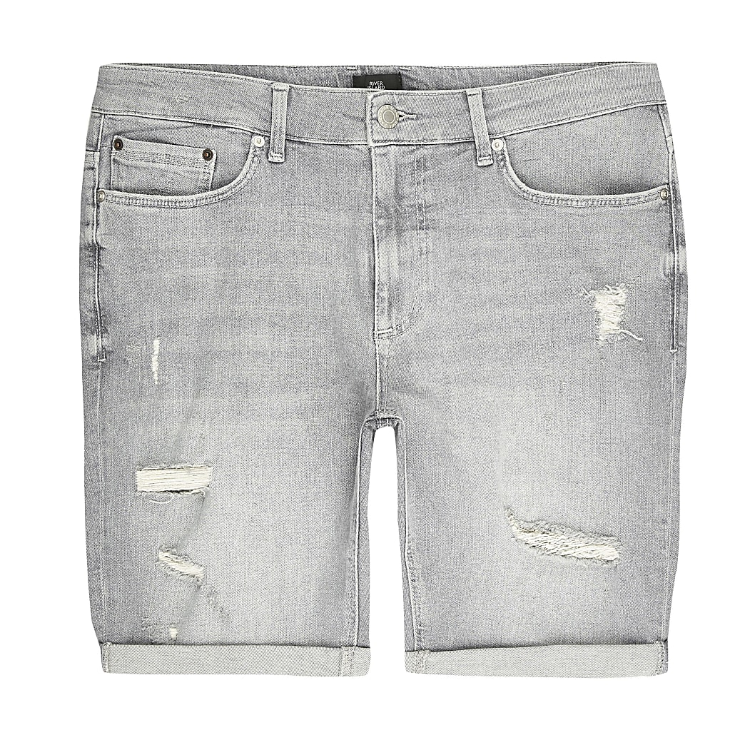 Big and Tall – Graue Skinny Fit Shorts im Used-Look