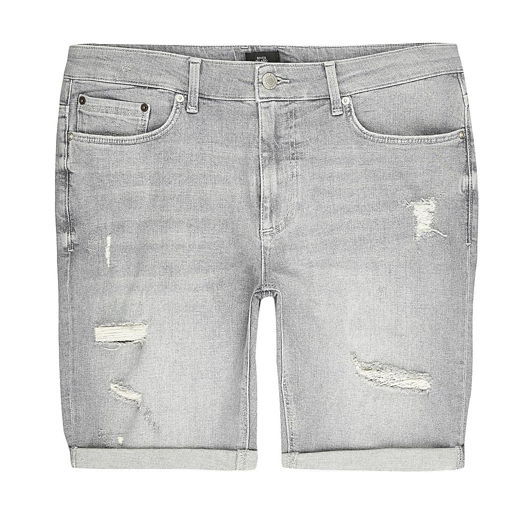 Big and Tall – Short skinnydéchiré gris