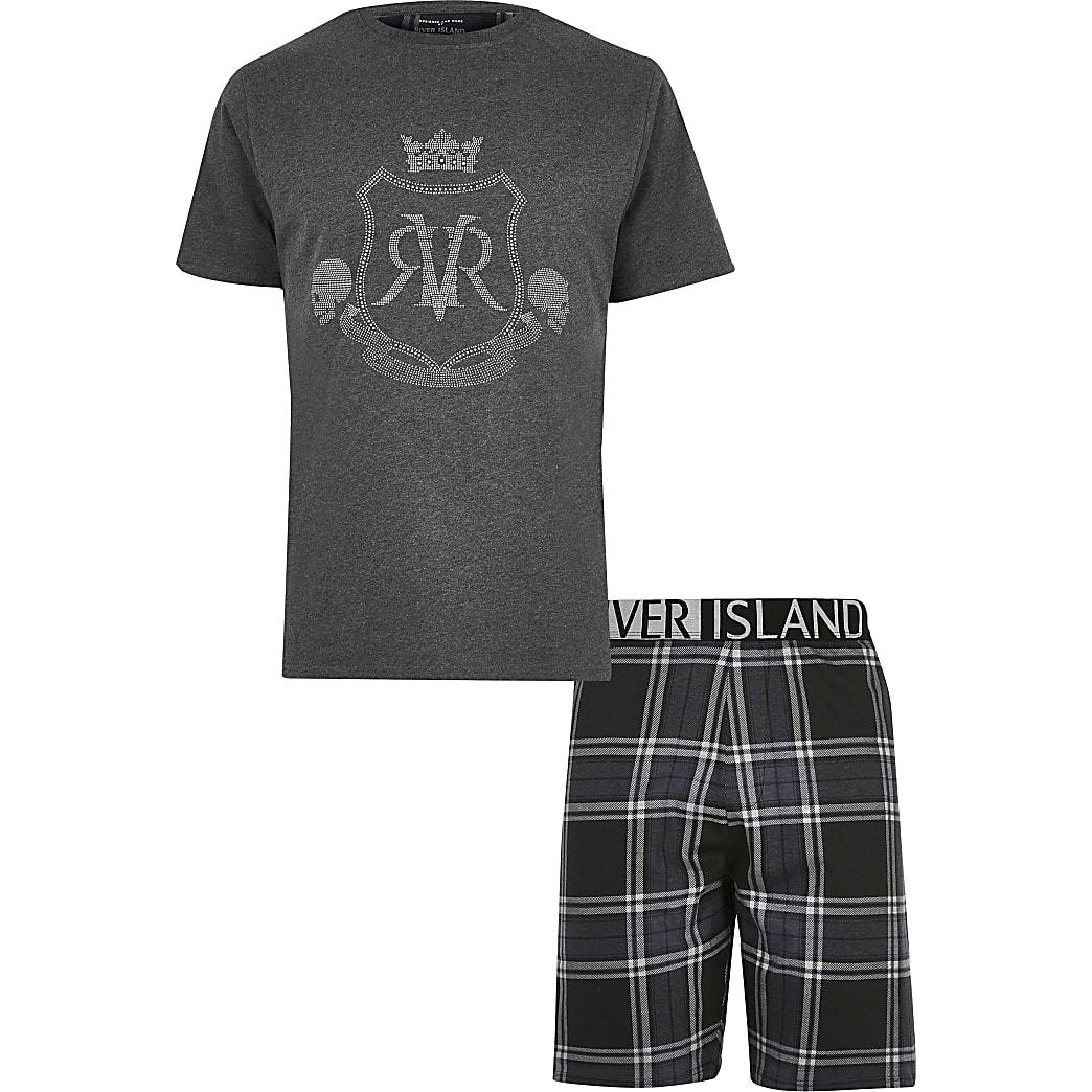 Big and Tall - Grijze pyjamaset met RVR-print