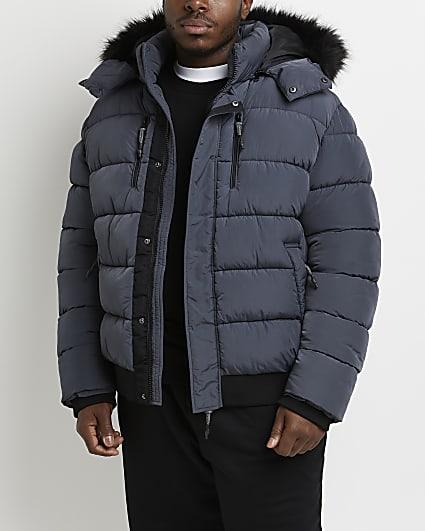 Big & tall grey short fur trim puffer jacket