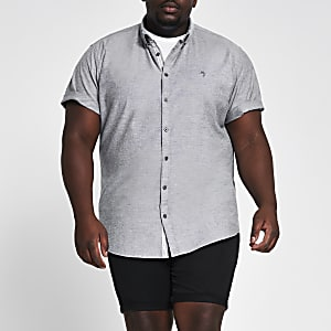 Big and Tall – Chemise en oxford grise à manches courtes