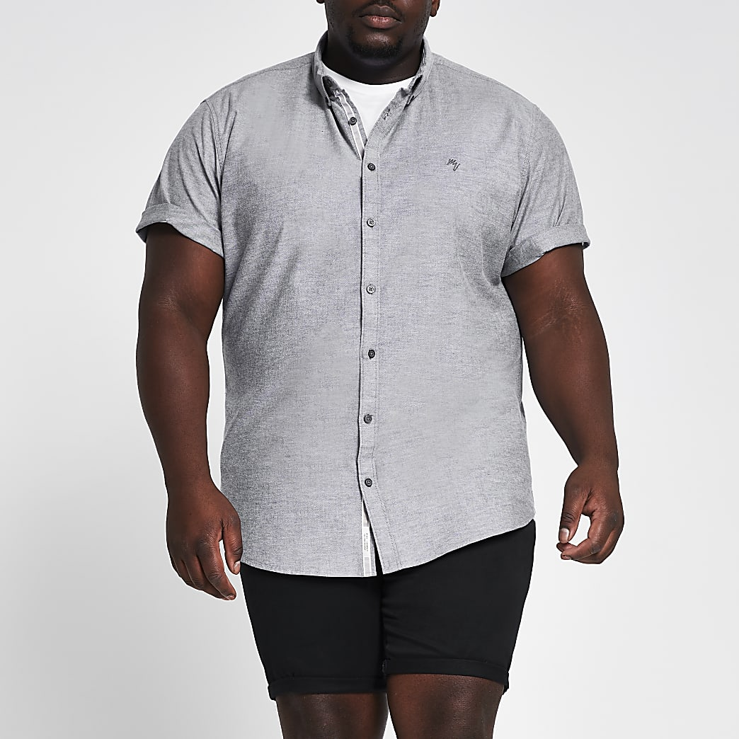 Big and Tall grey short sleeve Oxford shirt