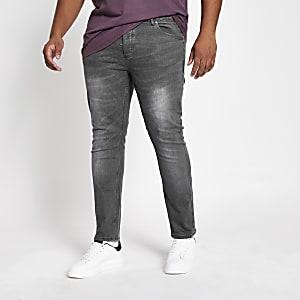 Big and Tall – Graue Sid – Skinny Fit Jeans