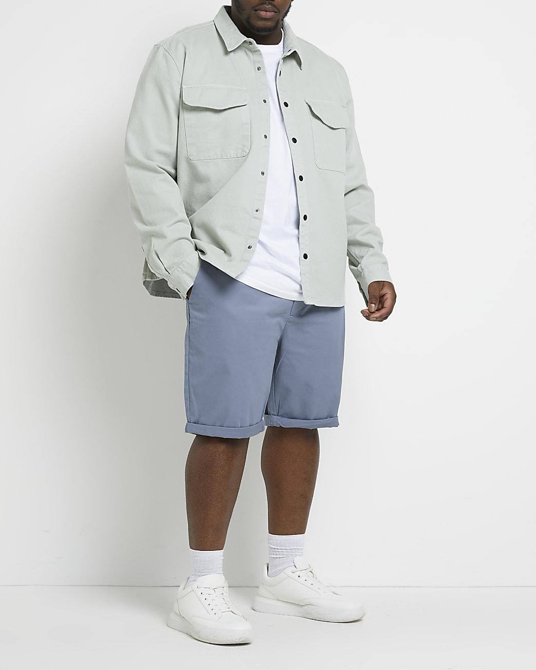 Big and Tall grey skinny fit chino shorts