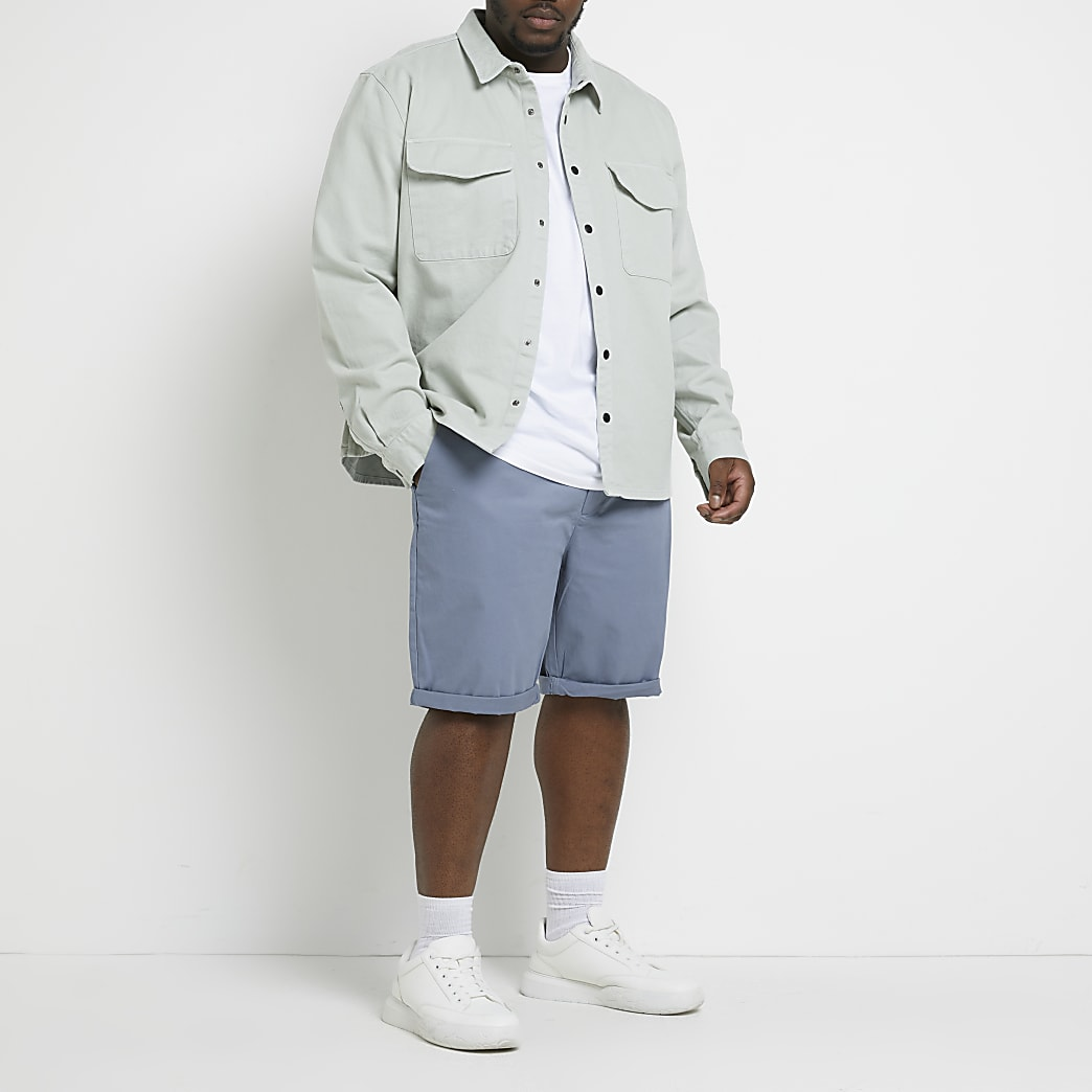 Big and Tall grey skinny fit chino shorts
