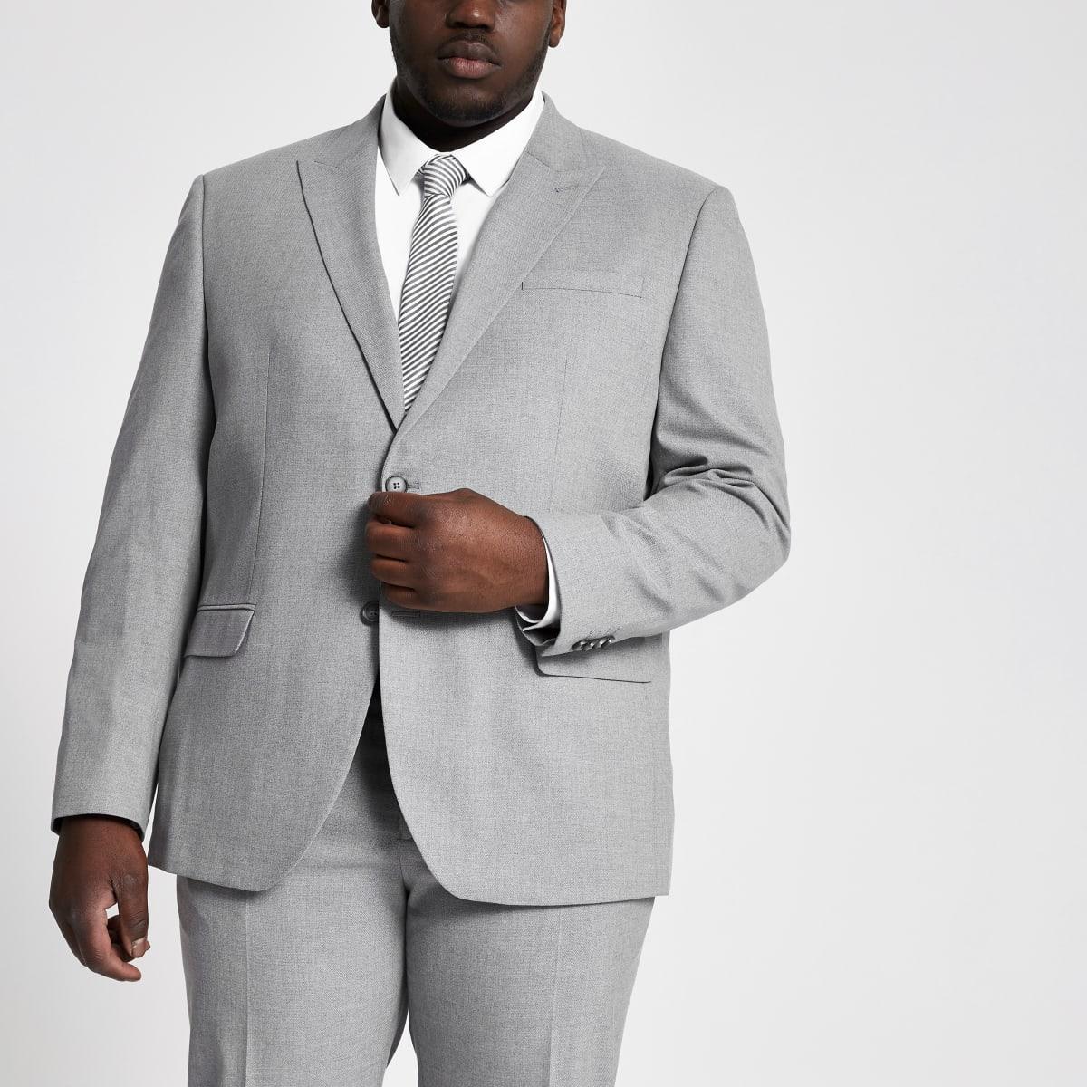 Big and Tall – Graue Skinny Fit Anzugjacke mit Karomuster