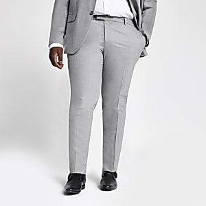 Big and Tall grey skinny fit suit trousers