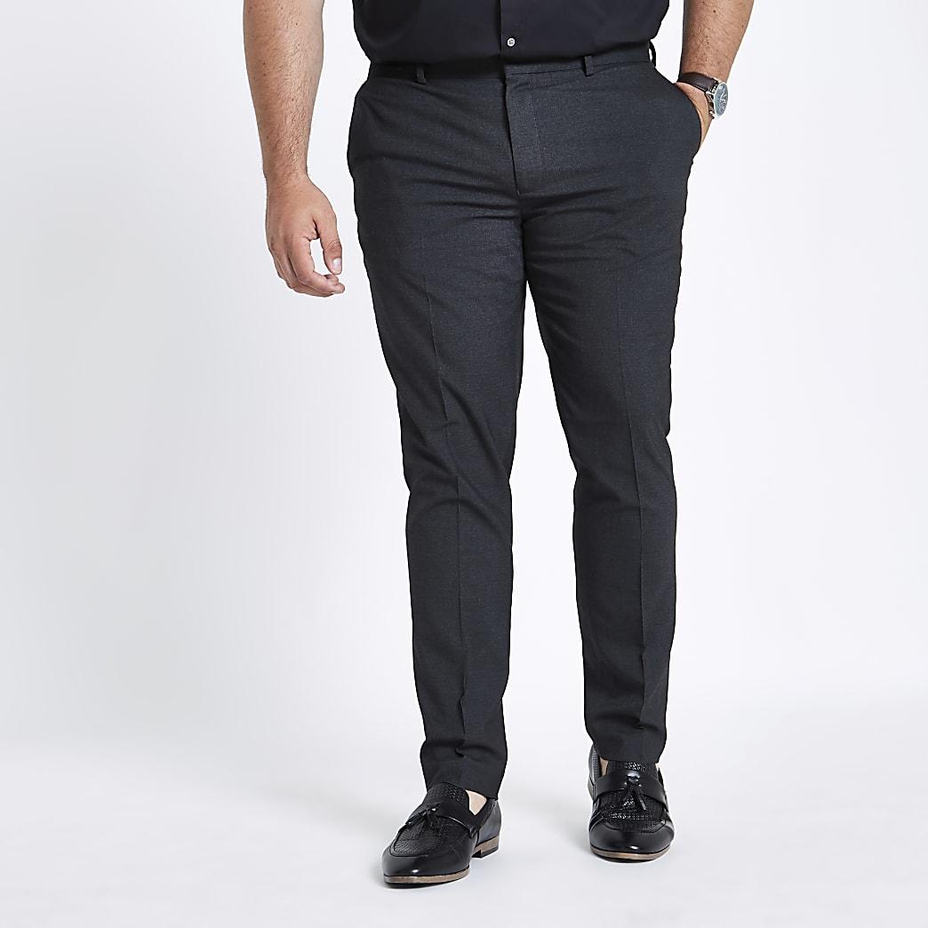 Big & Tall – Graue, elegante Skinny Hose