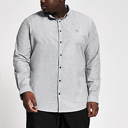 Big and Tall grey slim fit Oxford shirt