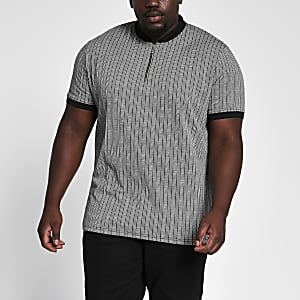 Big and Tall- Grijs gestreept slim-fit T-shirt