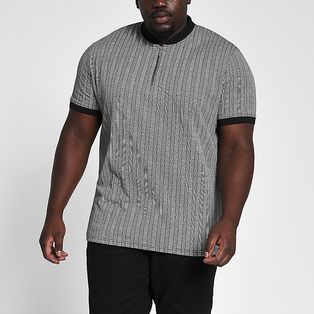 Big and Tall grey stripe slim fit T-shirt