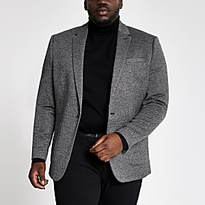 Big and Tall – Grauer, strukturierter Skinny Fit Blazer