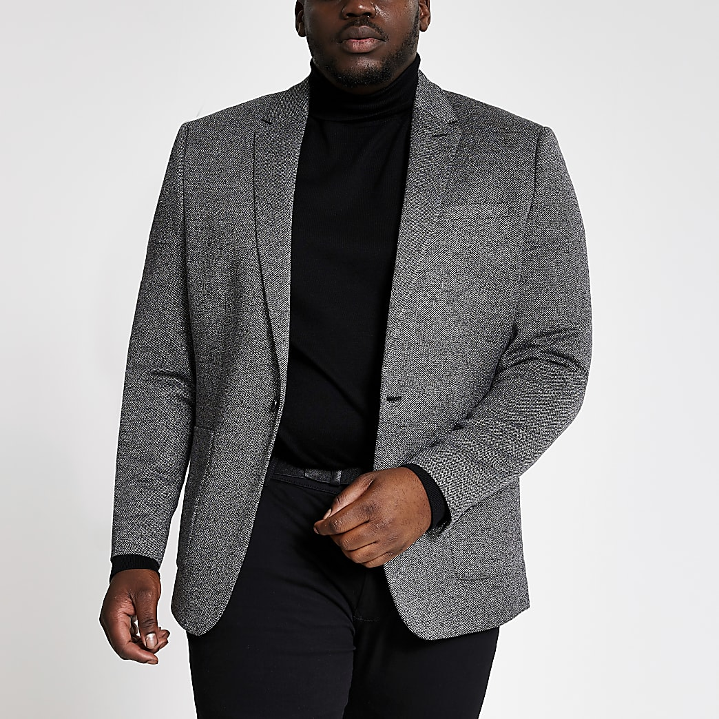 Big and Tall grey textured skinny fit blazer