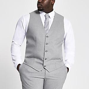 Big and Tall grey textured waistcoat