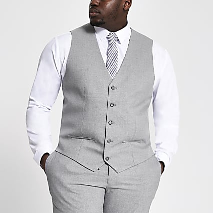 Big and Tall grey textured waistcoat