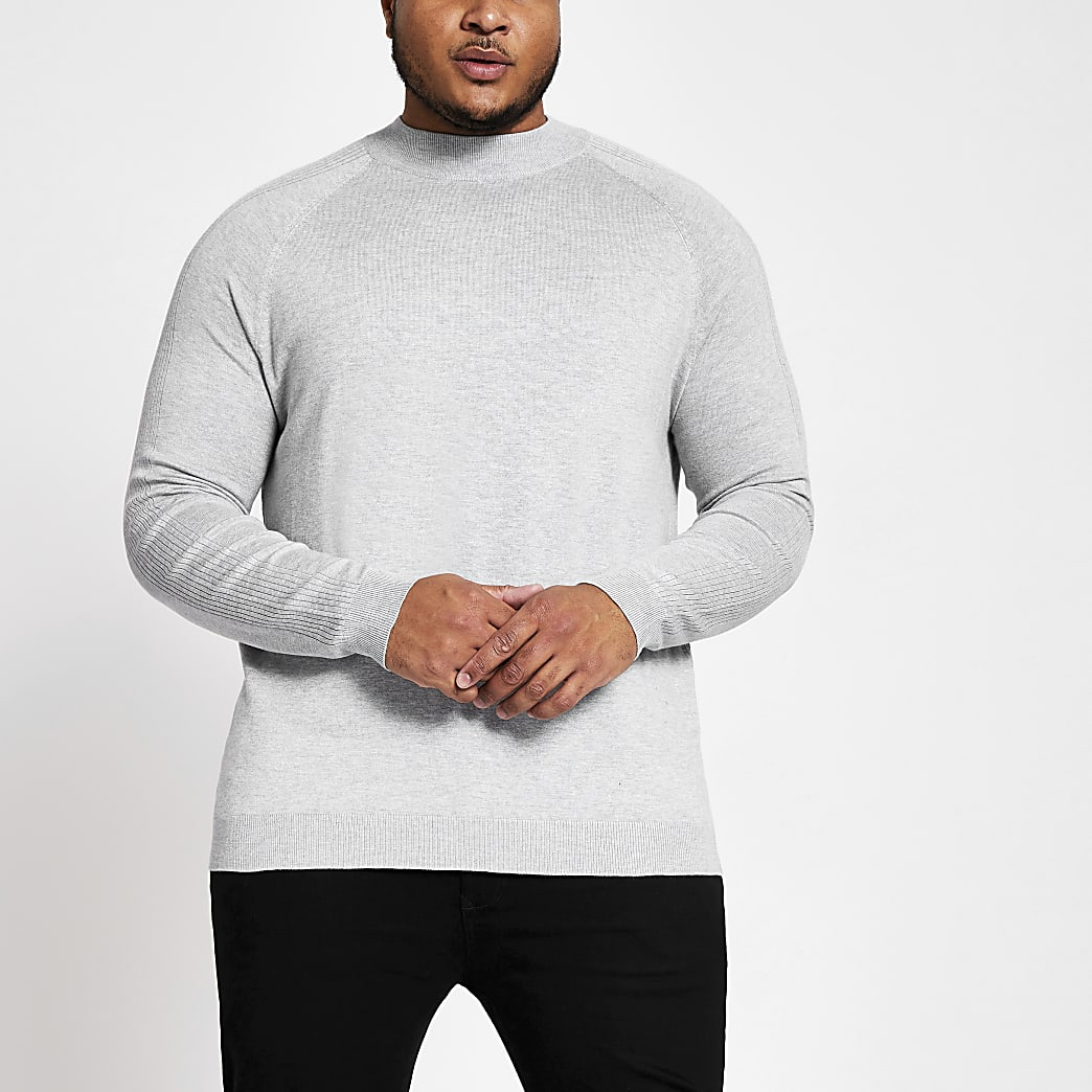Big and Tall - Grijze slim-fit pullover met col