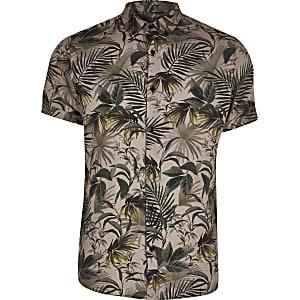Big and Tall khaki floral slim fit shirt