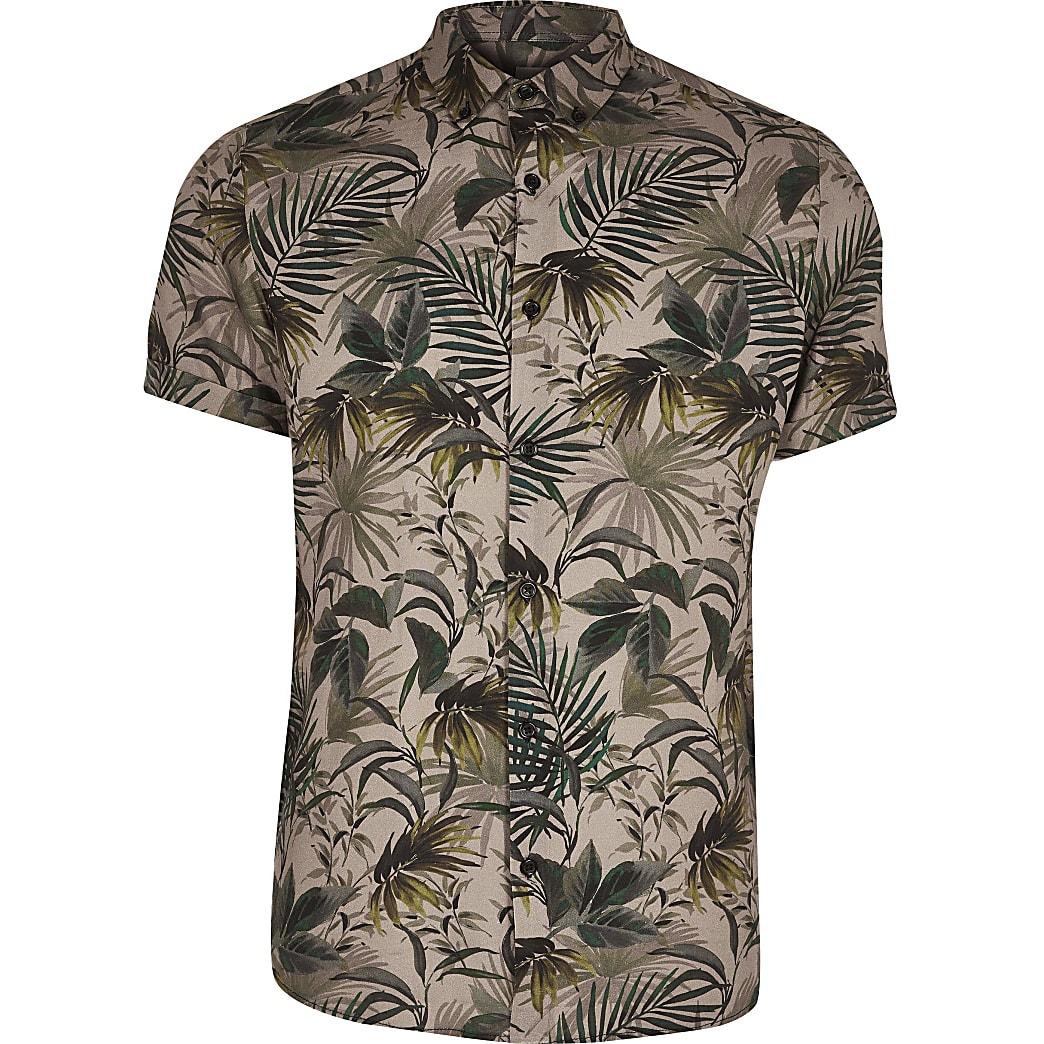 Big and Tall - Kaki slim-fit overhemd met bloemenprint