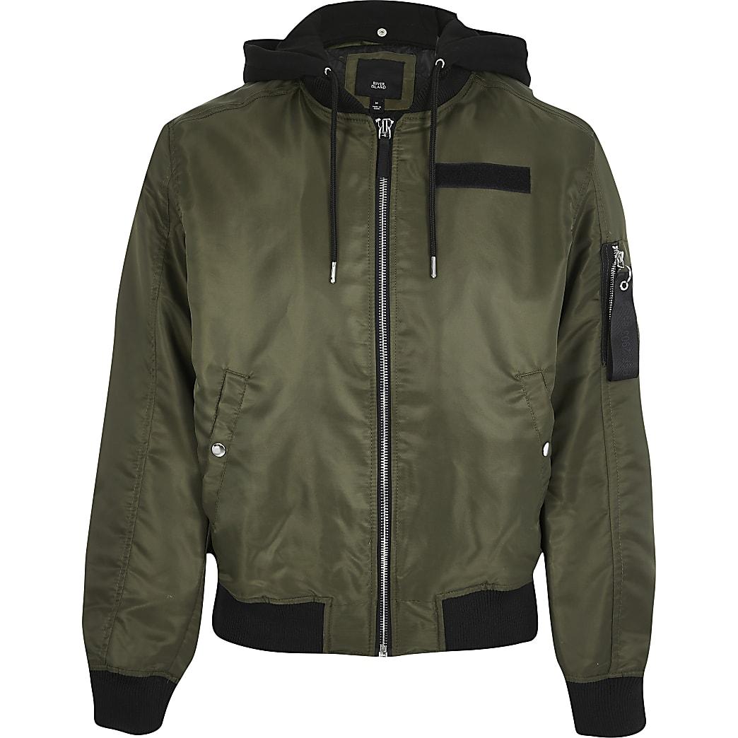 Big and Tall khaki hooded bomber jacket