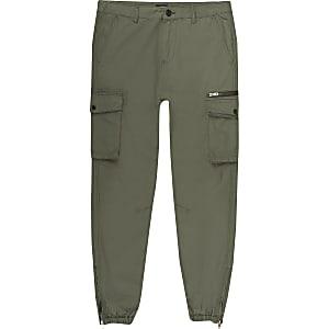 Big and Tall – Pantalon cargo skinny kaki