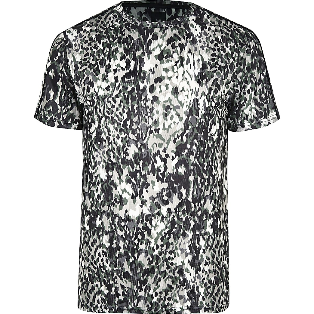 Big & Tall – T-shirt slim imprimé animal kaki