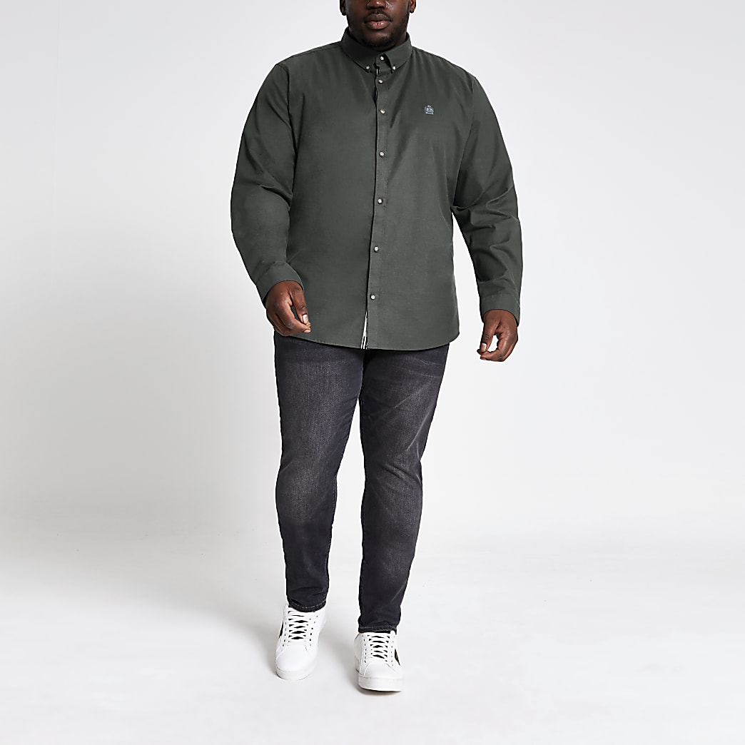 Big and Tall – Chemise slim oxford vert kaki