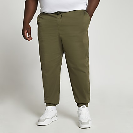 Big & Tall khaki washed chino trousers