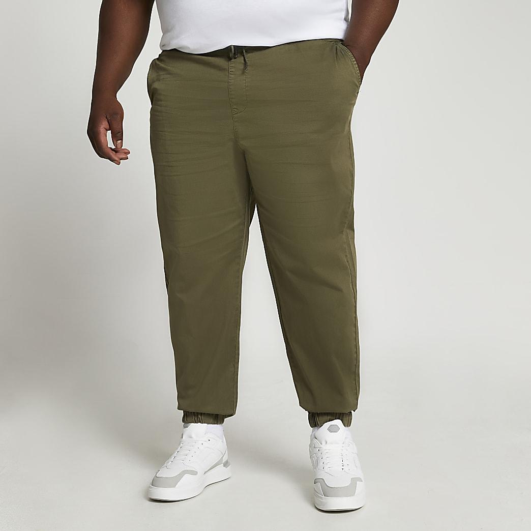 Big & Tall khaki washed chino trousers
