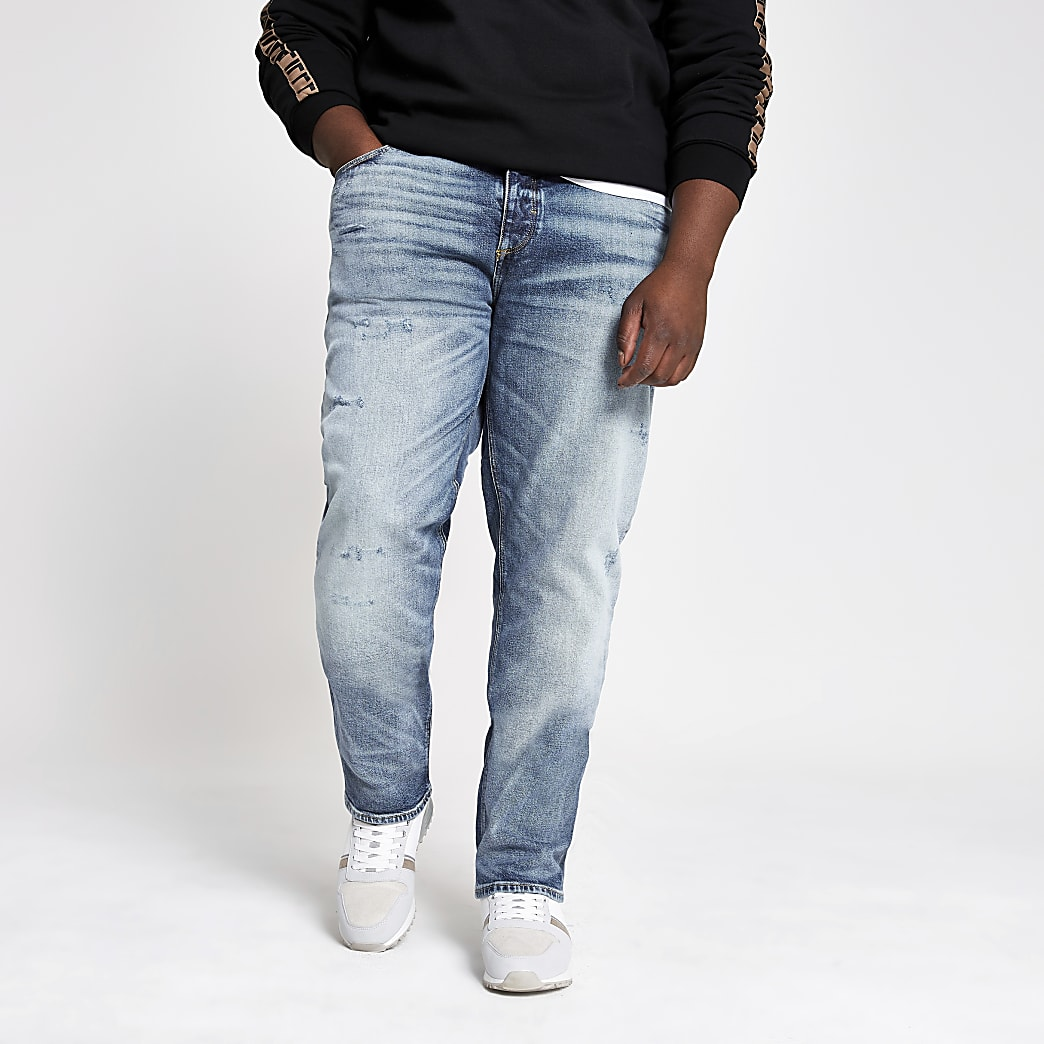 Big and Tall - Dylan - Lichtblauwe slim-fit jeans
