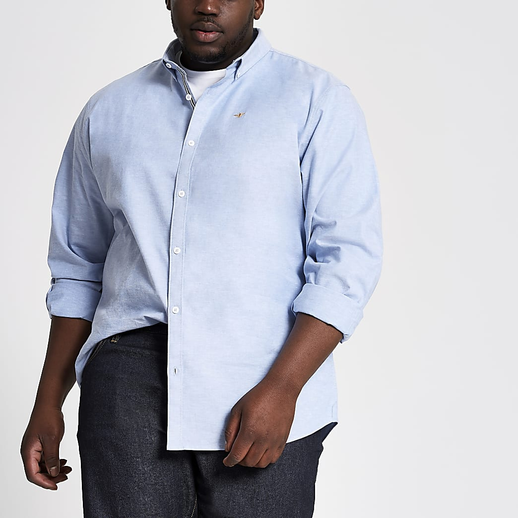 Big and Tall - Lichtblauw slim-fit overhemd