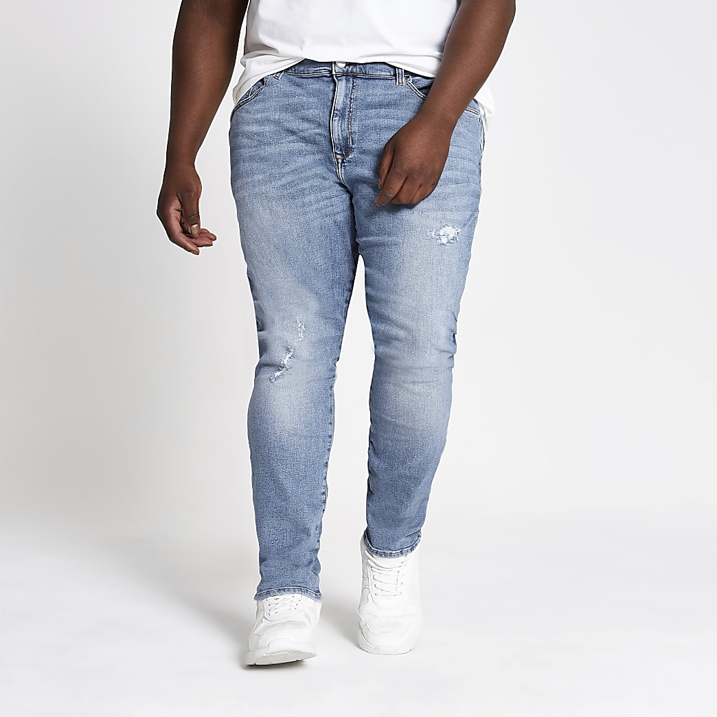 Big and Tall – Hellblaue Super Skinny Jeans