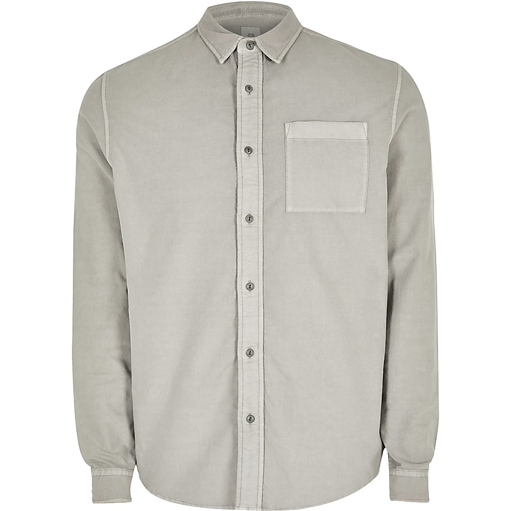 Big and Tall light grey regular fit shirt