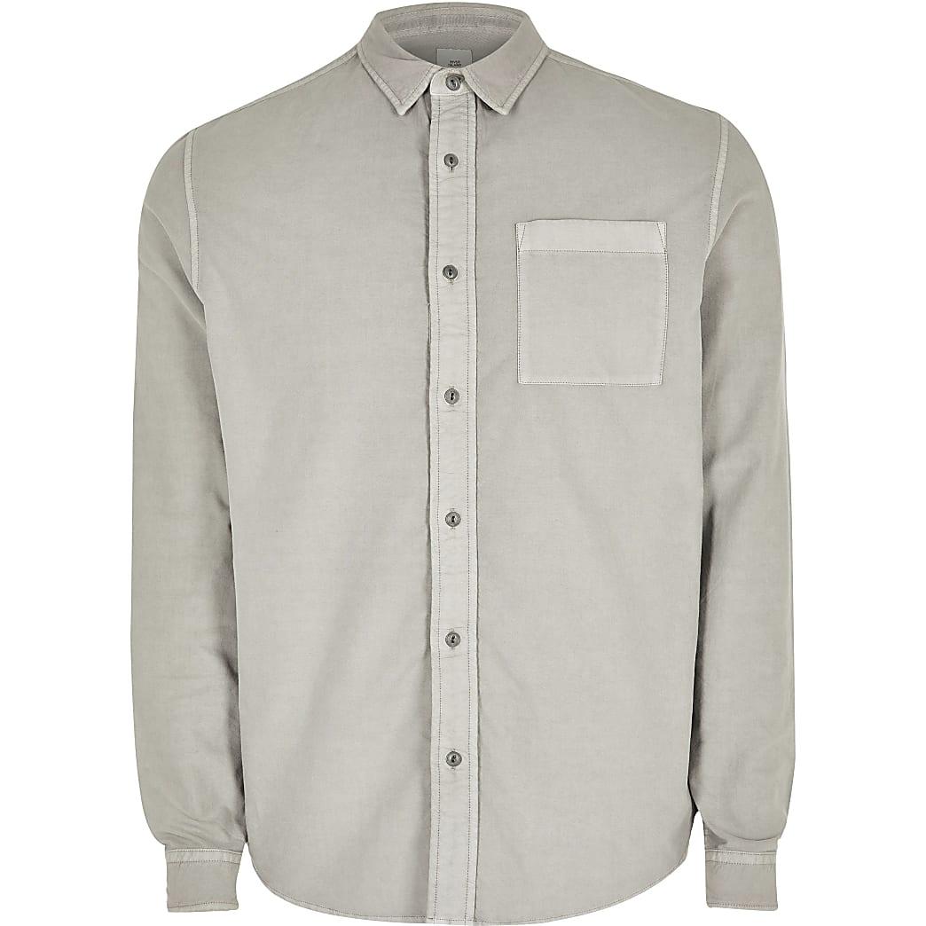 Big and Tall - Lichtgrijs regular fit overhemd