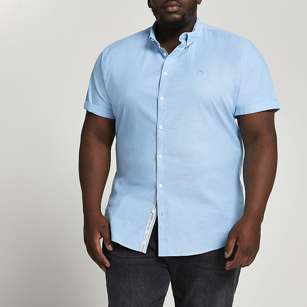 Big & Tall Maison Riviera blue oxford shirt