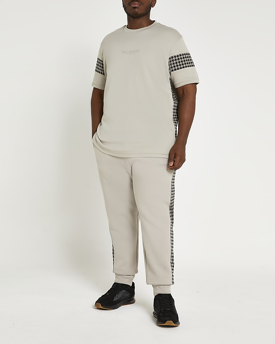 Big & Tall Maison Riviera check t-shirt