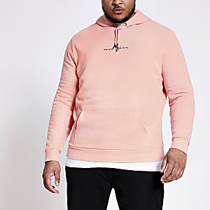 Big and Tall – Maison Riviera – Sweat à capuche corail
