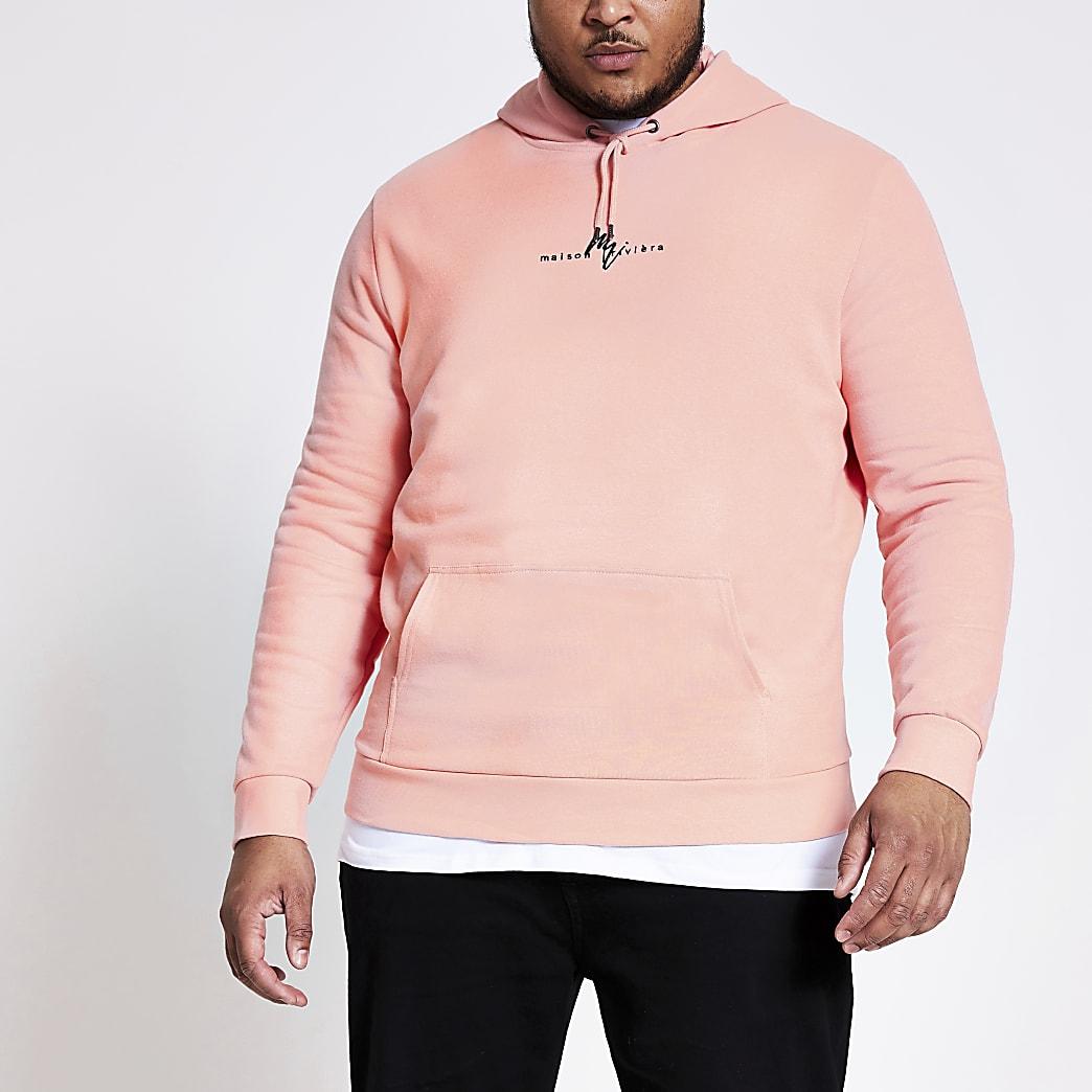 Big and Tall- Koraalrode hoodiemet MaisonRiviera-print