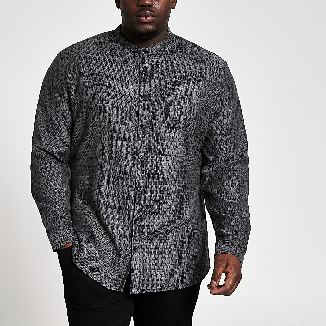 Big and Tall – Maison Riviera – Graues Hemd im Slim Fit